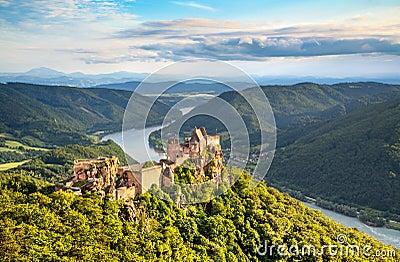 Beautiful landscape with Aggstein castle ruin and Danube river in Wachau, Austria