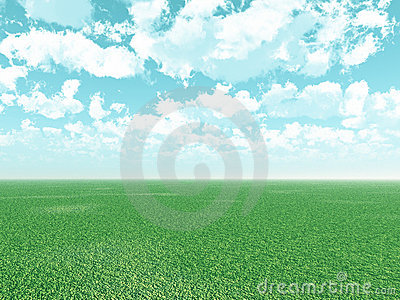 Beautiful landscape with puffy clouds