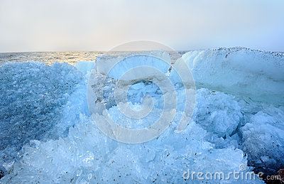 Beautiful landscape of the sea with rubble ice