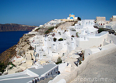 Beautiful landscape view in Oia town, Santorini