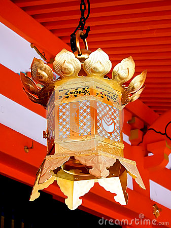 Beautiful lantern at Japanese shrine