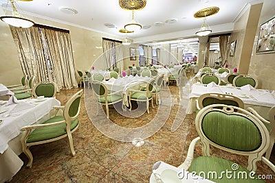 Beautiful large restaurant in Hotel Ukraine Editorial Stock Photo