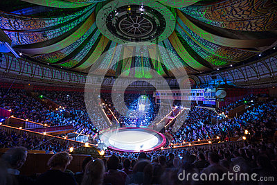 Beautiful laser show in Arena of the Great Moscow State Circus Editorial Photography