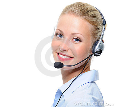 Beautiful  laughing cheerful woman with headphones
