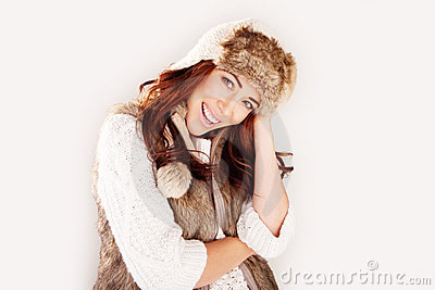 Beautiful Laughing Woman In Winter Fur