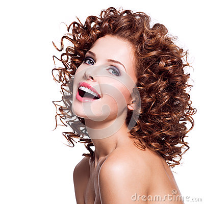 Free Beautiful Laughing Woman With Brunette Curly Hair. Stock Image - 44491981