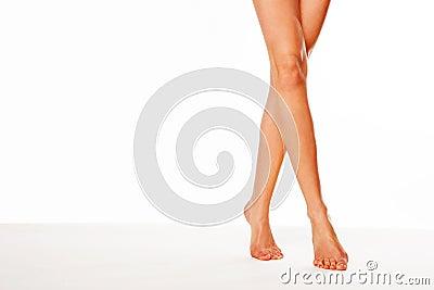 Beautiful legs walking on tip toe