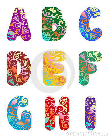 Beautiful letters alphabet set, part 1