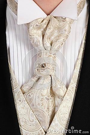 Beautiful light celebratory tie with crystal clad