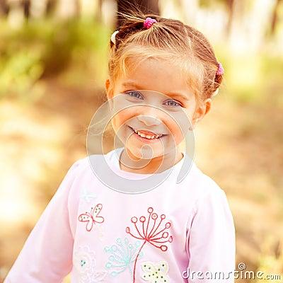 Beautiful liitle girl close-up Stock Photo