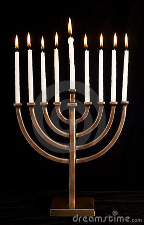 Free Beautiful Lit Hanukkah Menorah On Black Velvet. Royalty Free Stock Image - 7146106