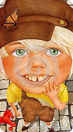 Beautiful little boy in retro clothes portrait