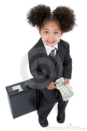 Beautiful Little Business Woman Sitting On Briefcase with Money