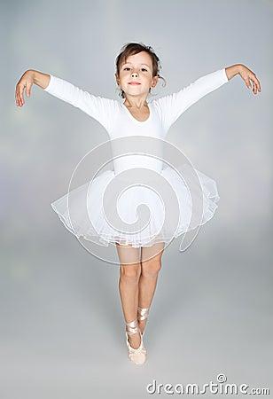 Free Beautiful Little Dancer, Ballerina In White Dress Stock Photography - 22009082
