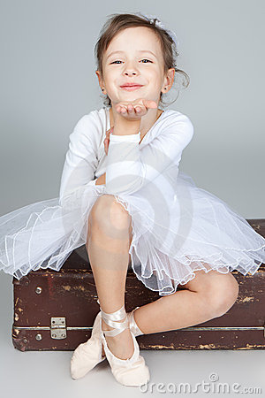 Free Beautiful Little Dancer, Ballerina In White Dress Stock Image - 22072781