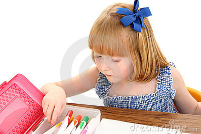 Beautiful Little Girl With Box of Markers on White Background
