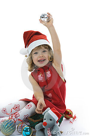 Beautiful Little Girl With Christmas Decoration Royalty Free Stock Images - Image: 3606139