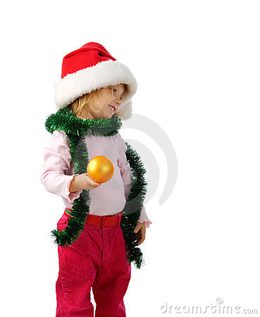 Beautiful little girl with christmas sphere