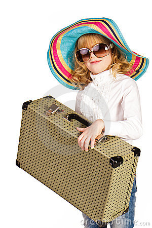 Beautiful little girl going on vacation