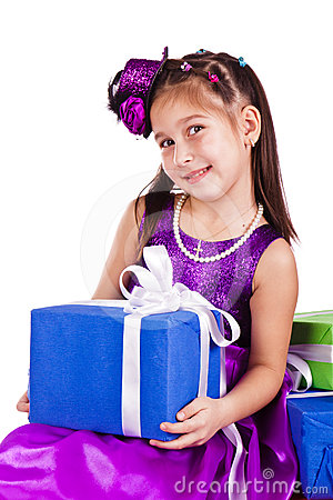 Beautiful little girl with presents