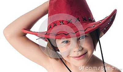 Beautiful little girl in a red hat