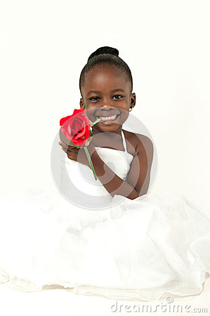 african-american little girl with red rose