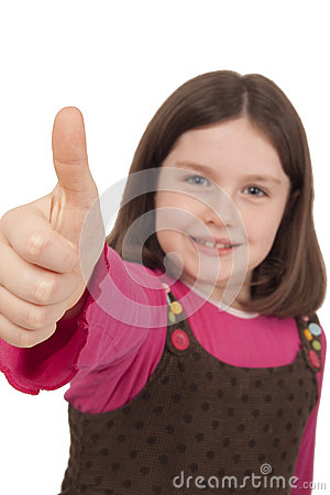 Beautiful little girl showing thumb up