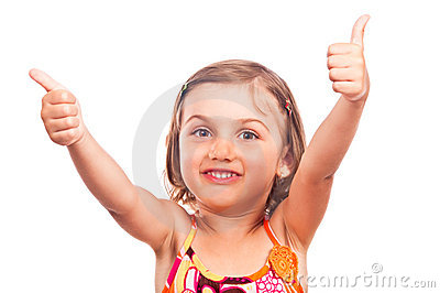 Beautiful little girl showing thumbs up