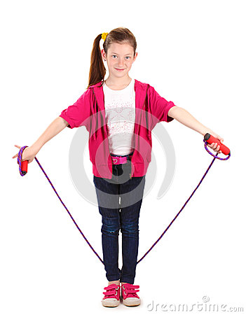 Beautiful little girl  with skipping rope