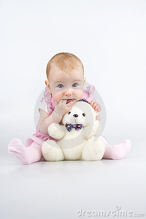 Free Beautiful Little Girl With Cuddle-bear. Stock Photography - 11405722