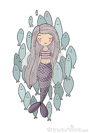 Free Beautiful Little Mermaid And A Flock Of Fish. Siren. Sea Theme. Royalty Free Stock Images - 91251759