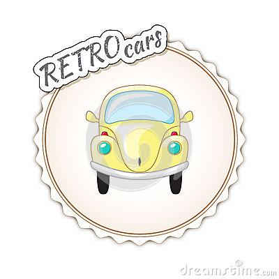Beautiful little yellow retro car. Vector Illustration
