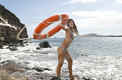 Beautiful liveguard with an orange lifebuoy