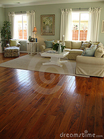 Beautiful Living Room With Wood Floors Royalty Free Stock