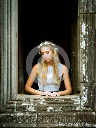 Beautiful, Lonely Fairytale Princess Waiting at Tower Window