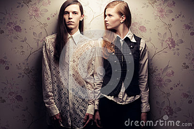 Beautiful long haired people in vintage style
