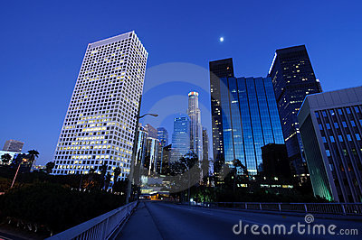 Beautiful Los Angeles under the moonlight