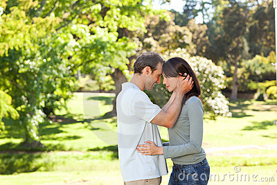 Beautiful lovers in the park
