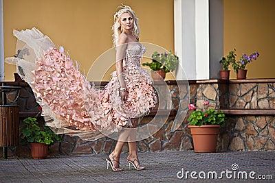 Beautiful luxury woman in wedding dress