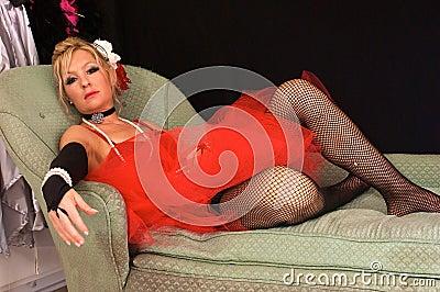 Beautiful madam on sofa
