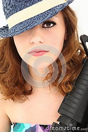 Beautiful  Mafia Girl Costume with Riffle Portrait