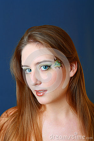 Beautiful makeup face art close up