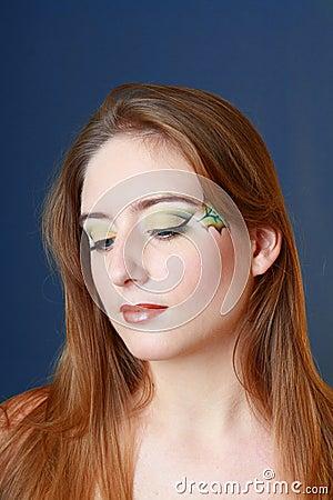 Beautiful makeup face art close up
