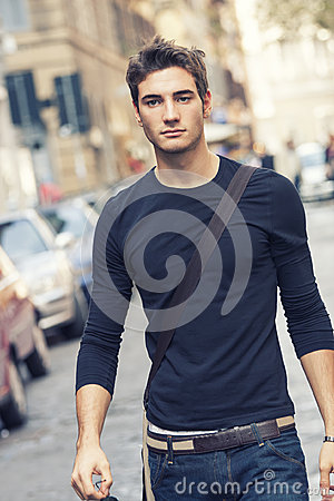 Free Beautiful Man Model Outdoor With Casual Outfit Royalty Free Stock Images - 53378029