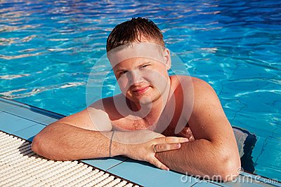 Beautiful man in pool