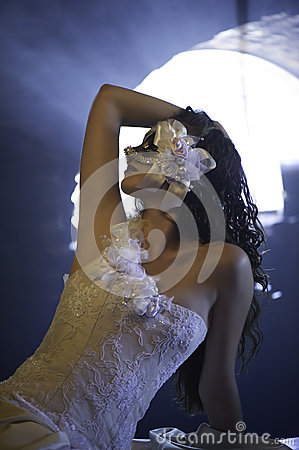 Free Beautiful Masked Woman In Wedding Dress Stock Photography - 36307562