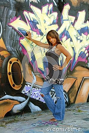 Beautiful Mature Black Woman with Graffiti (1)