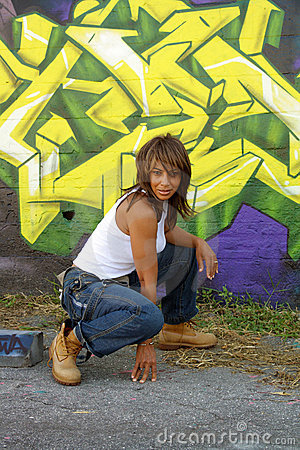 Beautiful Mature Black Woman with Graffiti (12)
