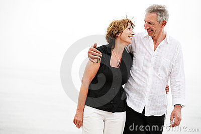 Beautiful mature couple taking a romantic walk
