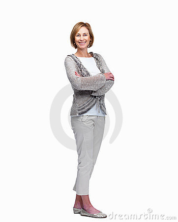 Beautiful mature woman standing with hands folded